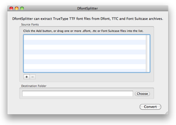 Screenshot of DfontSplitter for Mac